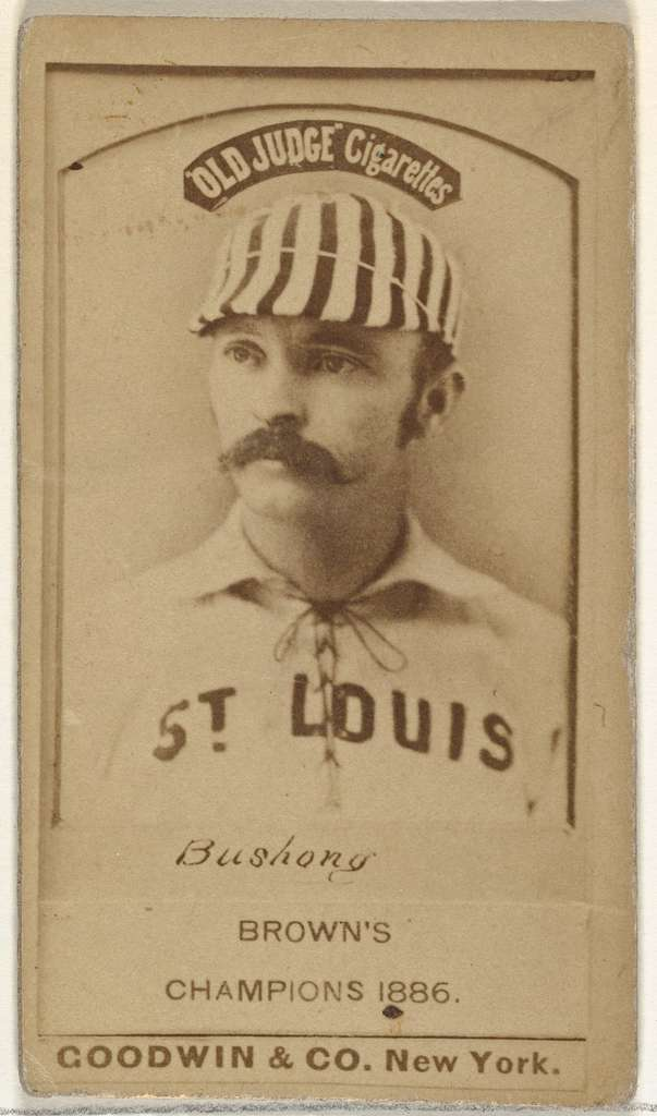 """Albert John """"Doc"""" Bushong, Catcher, St. Louis Browns, from the Old Judge series (N172) for Old Judge Cigarettes"""