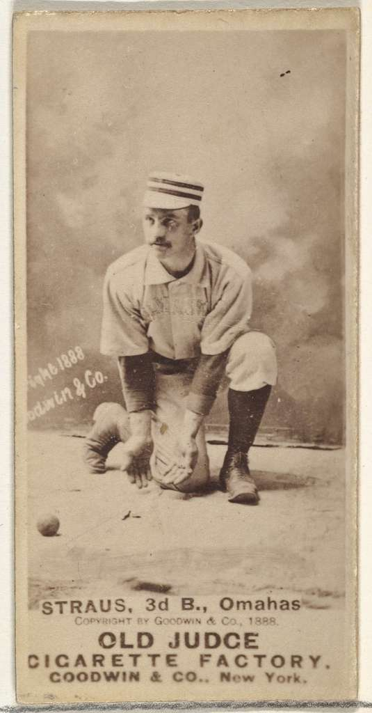 """Joseph """"Joe"""" Strauss, 3rd Base, Omaha Omahogs/ Lambs, from the Old Judge series (N172) for Old Judge Cigarettes"""
