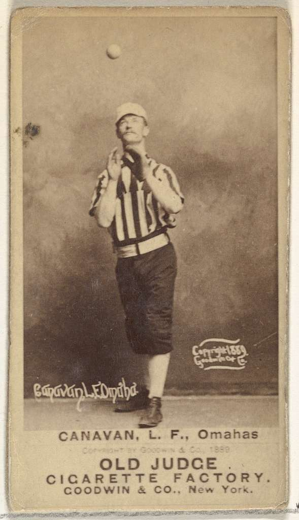 """James Edward """"Jim"""" Canavan, Left Field, Omaha Omahogs/ Lambs, from the Old Judge series (N172) for Old Judge Cigarettes"""