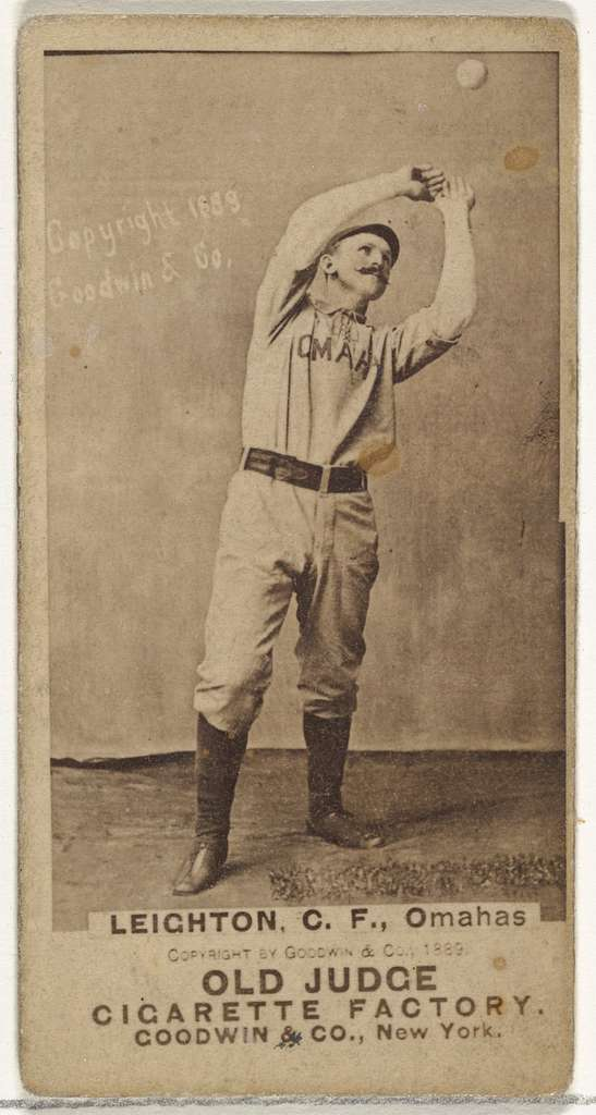 Leighton, Center Field, Omaha Omahogs/ Lambs, from the Old Judge series (N172) for Old Judge Cigarettes