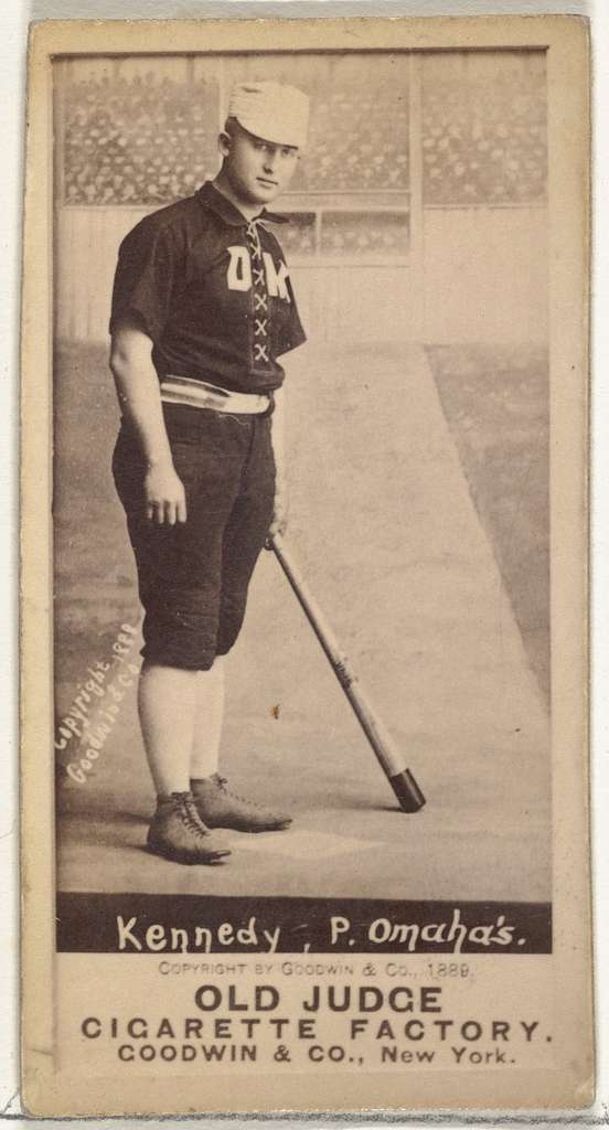 """Theodore A. """"Ted"""" Kennedy, Pitcher, Omaha Omahogs/ Lambs, from the Old Judge series (N172) for Old Judge Cigarettes"""